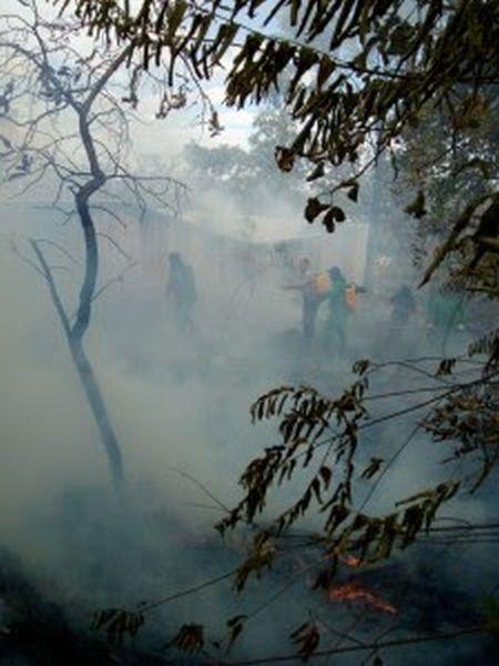 Brigada combate foco de incêndio dentro do Residencial